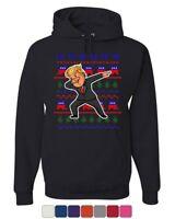 Trump Dabbing Ugly Sweater Hoodie MAGA Dab Dance Christmas Xmas Sweatshirt