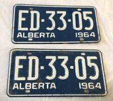 1964 Alberta License Plate Pair ED-33-05