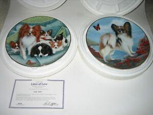 2 DANBURY MINT TAMAR BURNETT LITTER OF LOVE & SEASIDE STROLL PAPILLON DOG PLATES
