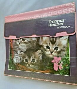 VTG 80s Mead Trapper Keeper Notebook 3 Ring Binder 3 Kittens Cats Pink