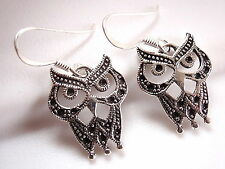 Black Eyed Owl Earrings 925 Sterling Silver Dangle Corona Sun Jewelry