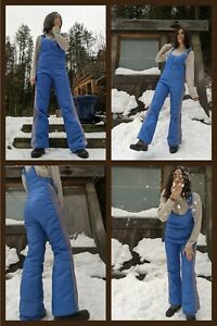 Blue Vintage 70s Obermeyer Insulated Overall Snow Pants Boot Cut Bell Bottoms SM