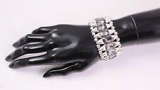 DS-130 Breites Armband Stretch silber Metall Glitzersteine Strass Glamour NEU