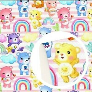 """Care Bear FAUX LEATHER ROLL 12"""" x 55"""" WHOLESALE 1142111 rainbow stripes"""