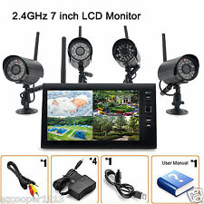 "Wireless 2.4G 4CH DVR 4 Camera with 7""TFT LCD Monitor Home Security System"