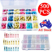 500PCS Heat Shrink Wire Connectors Assortment Crimp Terminals Marine Case Kit AU