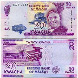 MALAWI 20 KWACHA 2015 P 63 ZA REPLACEMENT UNC