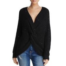 Sadie & Sage Womens Black Sequined Knit Loose Pullover Sweater Top S BHFO 3148
