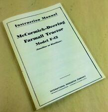 Mccormick-Deereing Farmall F-12 Tractor Instruction Manual Operators Owners