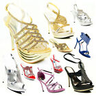 Ladies Womens Party Prom Bridal Evening Fashion High Heel Sandals Shoes Size 3-8