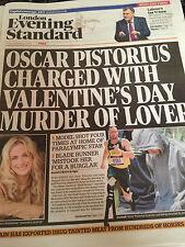 Oscar Pistorius in copertina Londra Evening Standard 14 feb 2013 Louise Mensch