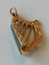 9K Solid Gold Irish Connemara Marble Harp Charm