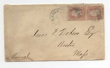 United States used on cover 65 pair Chicago IL to Boston MA fancy cancel