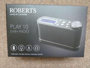 ROBERTS PLAY 10 Portable DAB+/FM Radio - Black - BRAND NEW - FREE DELIVERY