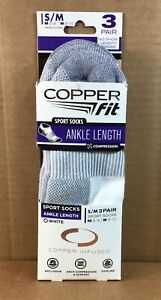 Copper Fit 3 PAIR Ankle Socks Copper Infused Compression Size S/M White/Grey