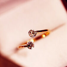 New Korean Style Rose Gold Plated Crystal Rhinestone Bridal Engagement Ring Gift