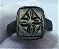 RARE ANCIENT BYZANTINE SILVER CROSS RING - CIRCA 800AD