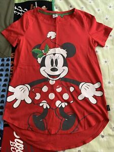 Ladies Disney Minnie Mouse Christmas T-Shirt Top Size 10 From Next