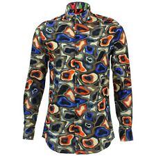 Camisa Hombre Loud Originals tailored Fit Camuflaje Azul Retro Psicodélico Lujo