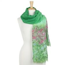 Green and Multi Colored Flower Garden Long Scarf