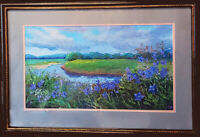 """Summer landscape.Original matted and framed oil on paper 24""""x14"""" painting."""