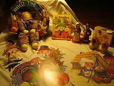 7 Pc Lot Used Fall Decorations-Wreath-Cardbo ard Wall-Tea Light Holders Etc