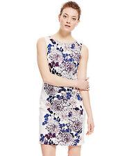 M&S COLLECTION Ivory Cotton Rich Floral Print Shift Dress Size UK16/EUR44 Regul