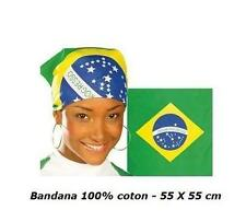 BANDANA BRESIL 100% COTON 55 X 55 cm DRAPEAU FOULARD MOTARD HEADWRAP HEADSCARF