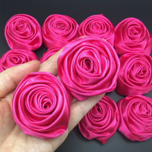 "24PC Hot Pink 2"" Satin Ribbon Rose Flowers DIY Wedding Bridal Bouquet Decor 50mm"