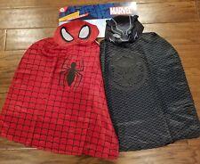Marvel Spider Man & Black Panther Mask & Cape Set New Dress Up Costume Fast Ship