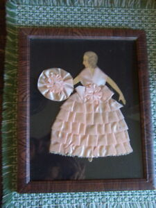 Vintage pink Ribbon Girl Picture Wall Decor faux grain wood frame simply cute