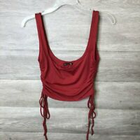 Fashion Nova Womens Large Red Ruched Side Not Coming Home Knit Tank Top NWT