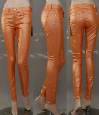 $198 NWT 7 SEVEN FOR ALL MANKIND JEANS THE SKINNY MTOR METALLIC ORANGE SZ 25