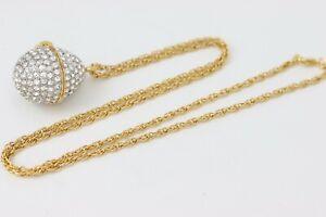 Xanadu Quartz Rhinestone Faberge Egg Watch Pendant Necklace Mother of Pearl Face