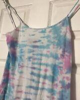 Lue Tie Dyed Cotton Sun Dress Summer Bathing Suit Cover Pink Blue White Sz M