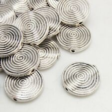 Lot of 8 Pieces Tibetan Silver 18mm Antique Tone Flat Spiral Round Beads US Ship
