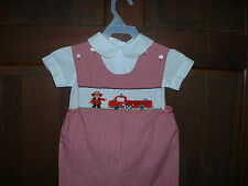 Hand Smocked Fire Truck Shortall or Bubble--Sizes 6 mos.-5T