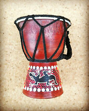 More details for mini djemba drum with natural skin & hand-painted wooden base world music