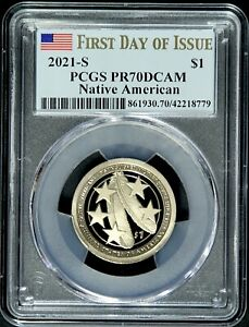 2021 S $1 SACAGAWEA MILITARY SERVICE PCGS PR70 DCAM First Day of Issue