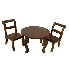 Miniature Dollhouse Stained Wood Round Table 3 pc Dining Set