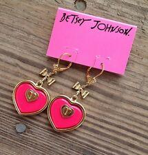 Betsey Johnson Pink Hearts Dangle Earrings