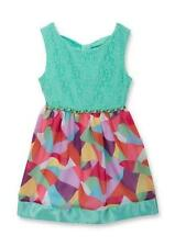 RARE EDITIONS® Girls' 5 Aqua Lace to Geo Print Dress NWT $60