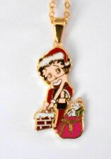 """Betty Boop Christmas Necklace / 17"""" Gold-tone Chain / Betty Boop Santa"""