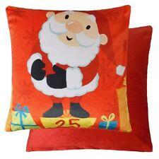 "FATHER CHRISTMAS SANTA PRESENTS SOFT VELVET RED CUSHION COVER 17"" - 43CM"