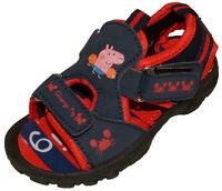 Disney PEPPA PIG GEORGE Boys Navy Sandals Beach Shoes 5 - 10 Suits F & G Width