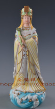 "15"" China Dehua Colour Porcelain Myth Matsu Ma Zu Queen Mother Goddess Statue"