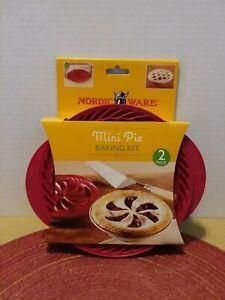 Nordic Ware Mini Pie Baking 2 piece RED Kit New