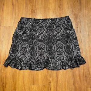 JoFit Women's 2XL Tennis/Golf Black & White Skort, Pink Lined Shorts, Ruffle Hem
