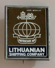 Vintage Lithuanian Shipping Company Lapel Pin Logo Crest USSR Morflot Maritime