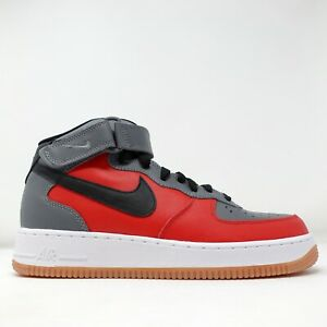 Nike Air Force 1 Mid ID NBY Red Grey White AQ3776 994 Mens Sneakers Size 8.5